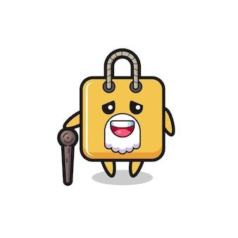 Il simpatico nonno della borsa della spesa tiene in mano un bastone, un design in stile carino per maglietta, adesivo, elemento logo