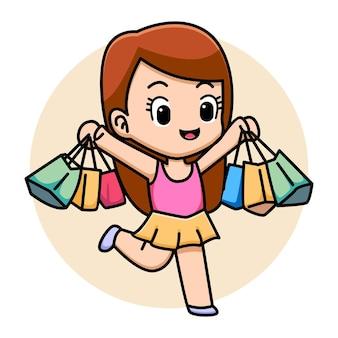 Illustrazione di cartone animato carino shopping girl