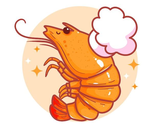 Simpatico logo di banner di frutti di mare di gamberetti illustrazione disegnata a mano di arte del fumetto