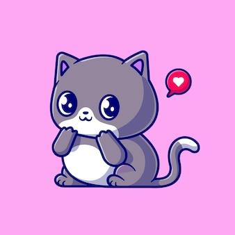 Illustrazione dell'icona di vettore del fumetto sveglio del gatto timido. concetto di icona natura animale isolato vettore premium. stile cartone animato piatto