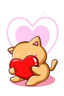 Un gatto carino e timido che abbraccia un fumetto del cuore del cuscino