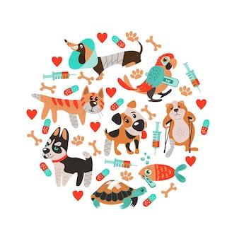 Simpatici animali malati con gambe rotte e febbre in stile cartone animato