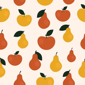 Modello senza cuciture semplice carino con pere e mele. illustrazione raccolta, frutta, cibo vegetale sano, vegetariano, prodotto agricolo. disegno della carta da imballaggio