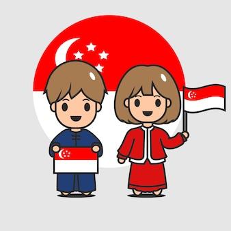 Simpatico personaggio di bandiera di singapore