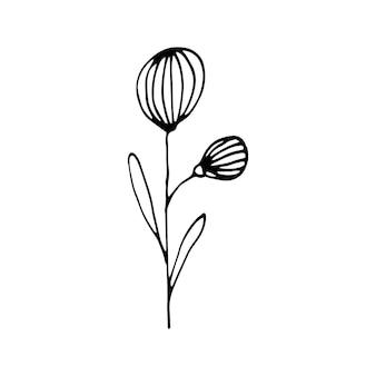 Simpatici elementi floreali disegnati a mano singola. doodle illustrazione vettoriale per matrimonio design, logo e biglietto di auguri.