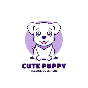 Simpatico cartone animato cucciolo seduto kawaii