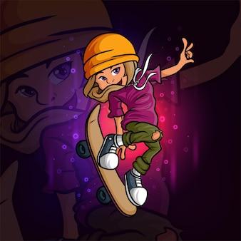 La simpatica ragazza skateboard esport mascotte design dell'illustrazione Vettore Premium