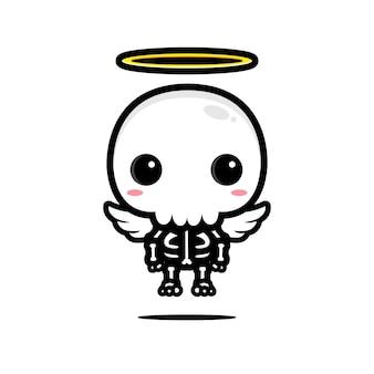 Il design carino del teschio è un angelo