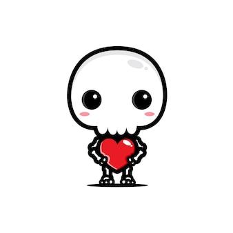 Simpatico teschio che abbraccia amore cuore
