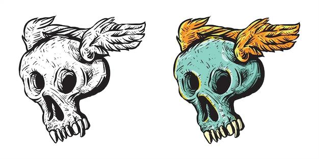 Illustrazione di teschio carino con ali arte vettoriale per adesivo o merce