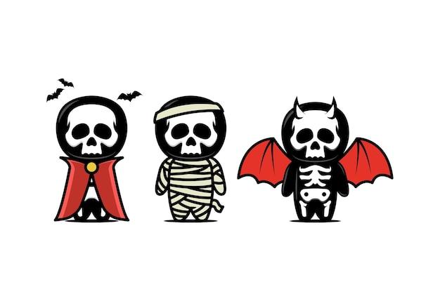 Simpatica illustrazione di design della mascotte del teschio con set di temi di halloween