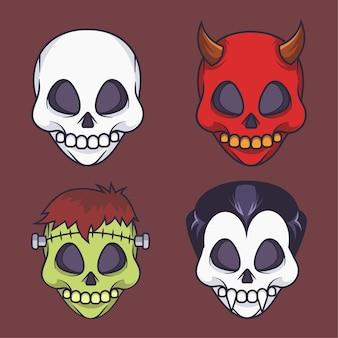 Simpatica collezione di maschere teschio illustrazione vettoriale di halloween
