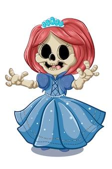 Un simpatico teschio che indossa un abito da principessa e una corona blu, illustrazione