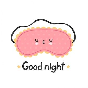 Maschera per dormire carina. carta della buona notte design piatto personaggio dei cartoni animati design.isolated su sfondo bianco. concetto di maschera di sonno