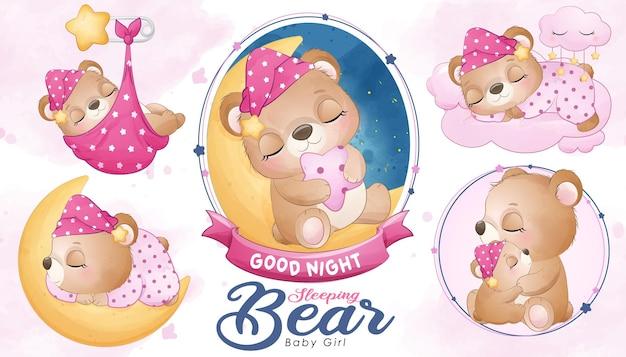 Simpatico orsetto addormentato con acquerello
