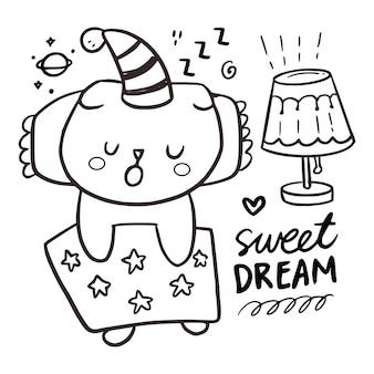 Disegno da colorare carino gatto addormentato per bambini. illustrazione di citazione di sogni d'oro