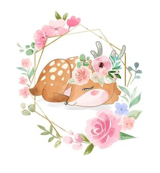 Cervo addormentato sveglio nell'illustrazione della corona floreale