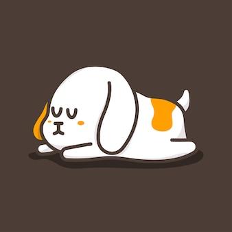 Personaggio dei cartoni animati di vettore sveglio del cane addormentato isolato su priorità bassa.