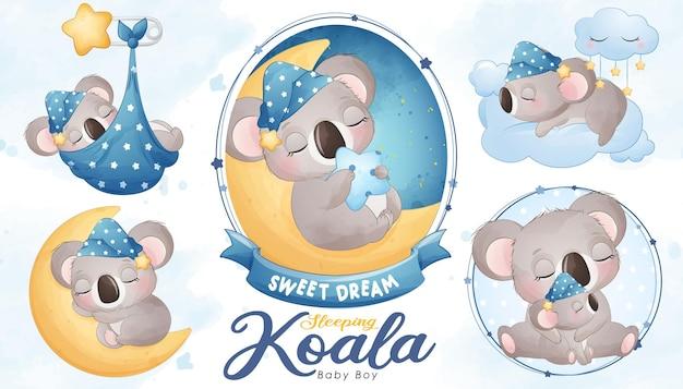 Carino baby shower koala addormentato con set di illustrazioni ad acquerello
