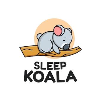 Modello di logo koala dormire carino