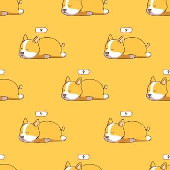 Modello senza cuciture sveglio del cane corgi sonnolento con stile doodle su sfondo giallo