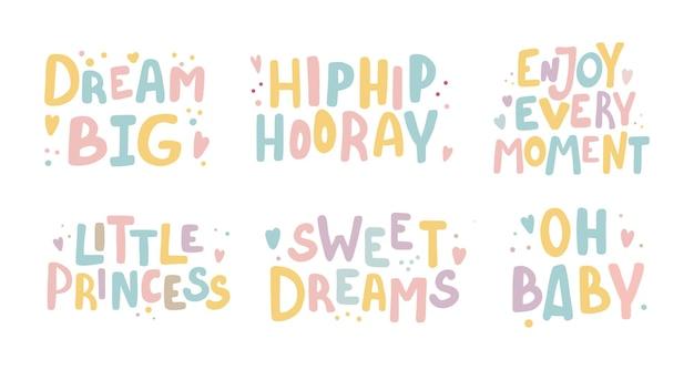 Collezione di simpatici slogan colorati a colori. elementi di design letterng carino stile disegnato a mano.