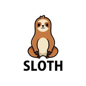 Illustrazione dell'icona di logo del fumetto di bradipo sveglio