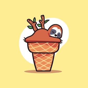 Carattere sveglio del bradipo che dorme sull'illustrazione del cono gelato