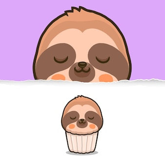 Cupcake bradipo carino, disegno del personaggio animale.