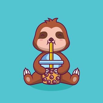 Simpatico bradipo che beve boba milk tea cartoon illustrazione