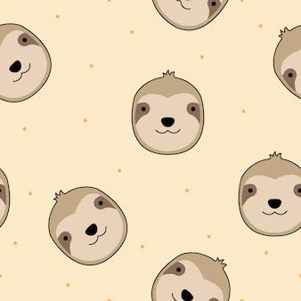 Vettore senza cuciture del modello del fumetto sveglio del bradipo del fronte
