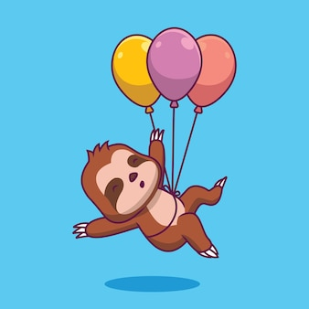 Simpatico bradipo che galleggia con l'illustrazione del fumetto dell'aerostato