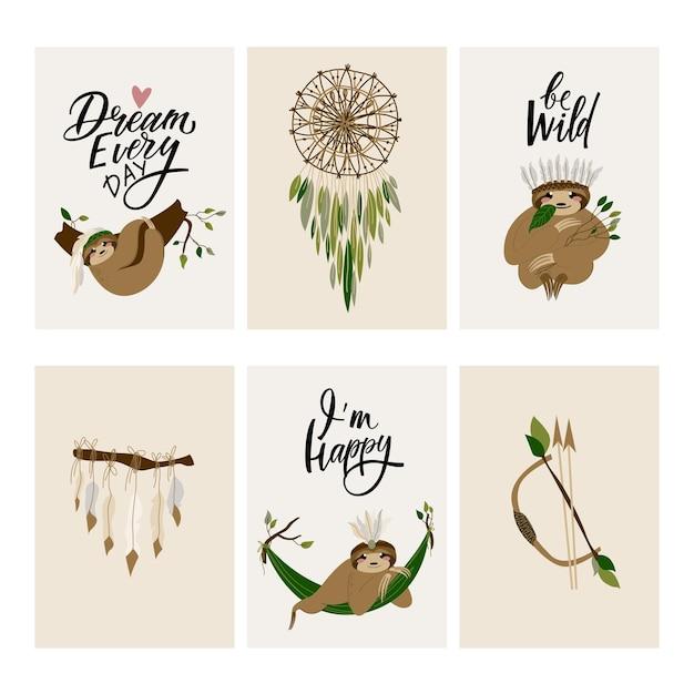 Simpatici biglietti d'invito bradipo in stile boho scandinavo illustrazioni vettoriali disegnate a mano