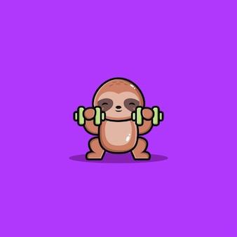 Simpatico cartone animato con manubri che solleva bradipo