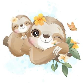 Madre e bambino svegli di bradipo con l'acquerello