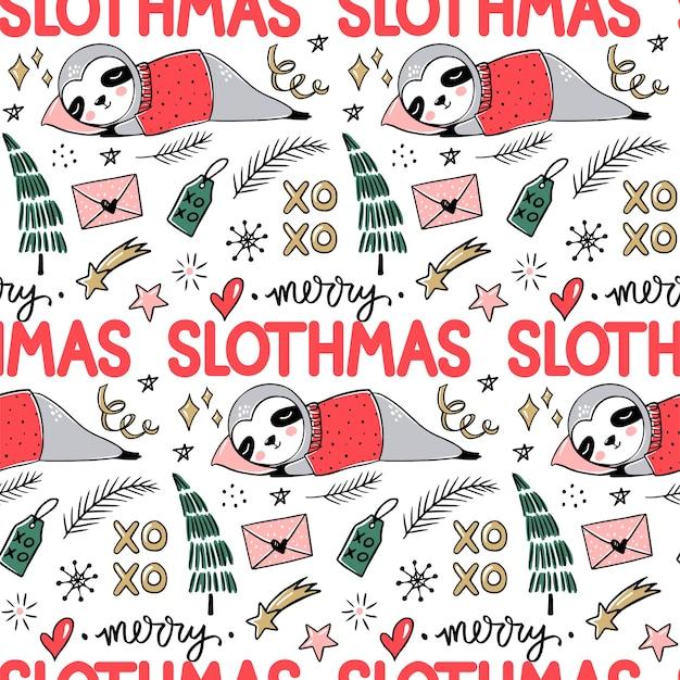 Modello senza cuciture carino bradipo, sfondo accogliente invernale. orso di bradipo pigro di doodle che dorme con il maglione brutto, albero di natale. design carino vacanze, stampa, carta da imballaggio.