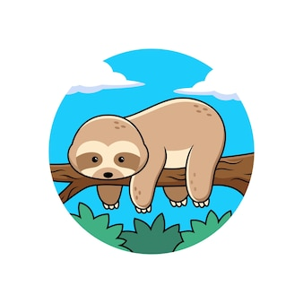 Simpatico cartone animato bradipo addormentato nell'albero. vettore animale