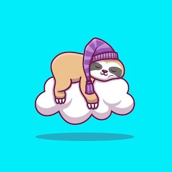 Bradipo sveglio che dorme sull'illustrazione dell'icona della nuvola. icona animale concetto isolato. stile cartone animato piatto