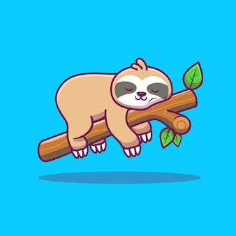 Illustrazione sveglia dell'icona di sonno di bradipo. icona animale concetto isolato. stile cartone animato piatto