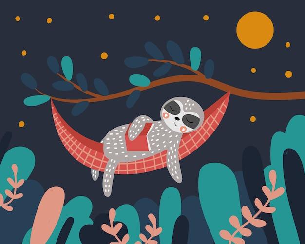 Simpatico bradipo dorme su un'amaca con un libro tra le mani. notte nella foresta. l'albero e le foglie. illustrazione.