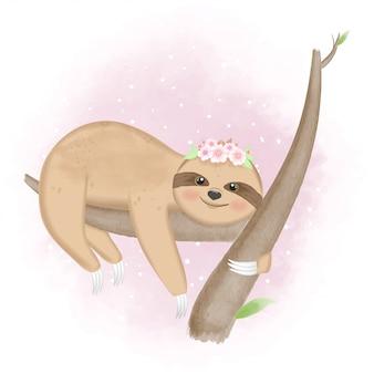 Bradipo carino sull'illustrazione disegnata a mano dell'albero