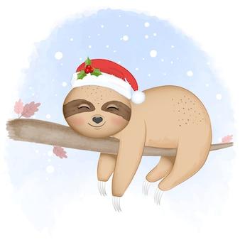 Bradipo carino sull'albero nell'illustrazione dell'acquerello di inverno