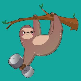 Illustrazione sveglia di vettore di bradipo con fondo blu