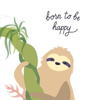 Simpatico vettore di bradipo. bradipo rampicante del bambino isolato del fumetto. poster di animali della giungla disegnati a mano