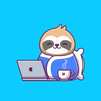 Coperta d'uso di bradipo sveglio con l'illustrazione del fumetto del caffè e del computer portatile.