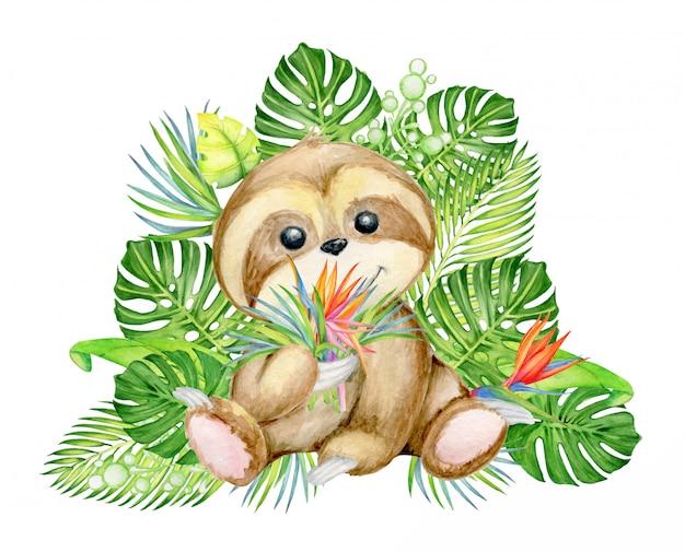 Simpatico bradipo, con un mazzo di foglie e fiori tropicali,