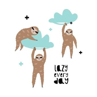 Simpatici bradipi sulle nuvole.