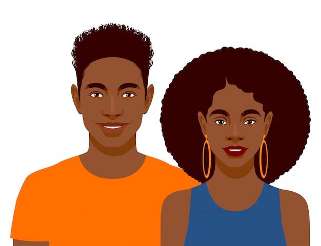 Uomini e donna africani sorridenti svegli isolati