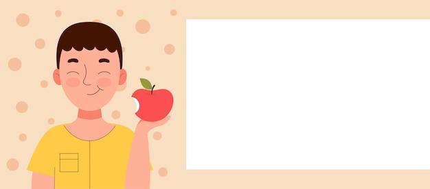 Ragazzo sorridente sveglio che mangia una mela. merenda scolastica, cibo sano, dieta a base di frutta, vitamine per bambini. banner per sito web. spase per testo, modello. illustrazione di riserva del fumetto di vettore piatto