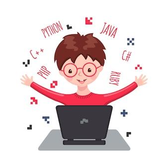 Ragazzo sorridente sveglio che si siede al computer portatile e apprendimento web design e codifica. Vettore Premium